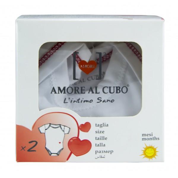 Body de Manga Curta p/ Bebé de Verão dos 0-3 Meses Amore Al Cubo